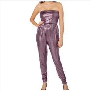 🎈Coming Soon! 🎈Metallic strapless jumpsuit PINK